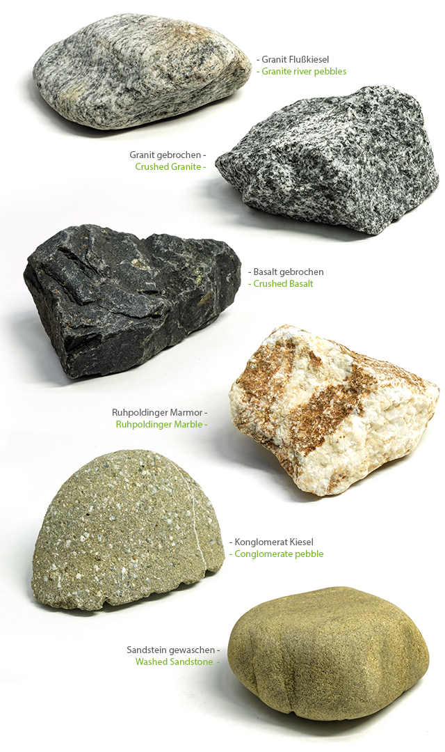 The rock variety for our handmade Stoned Holds: granite river pebbles, broken granite, broken basalt, ruhpoldinger marble, conglomerate pebble, washed sandstone. Natural stone for climbing holds